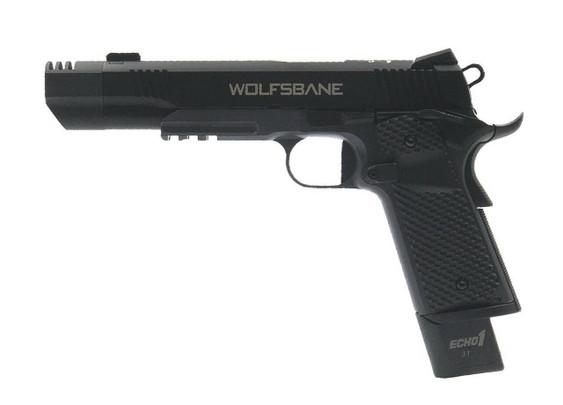 Echo1 Wolfsbane M1911 Blowback Gas Airsoft Pistol, Black