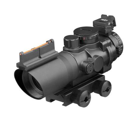 AIM Sports 4X32 Tri Illuminated Scope with Fiber Optic Sight Mil-Dot Reticle, Black