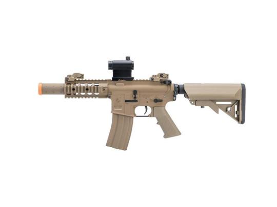 Colt Licensed Elite Line M4 SBR w/ 5 Quadrail M4 AEG Airsoft Rifle by Cybergun, Tan
