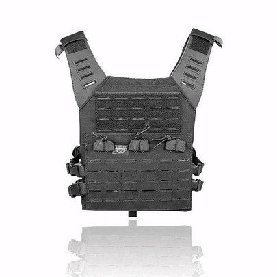 Valken Laser Cut MOLLE Plate Carrier w/ Integrated Mag Pouches, Black