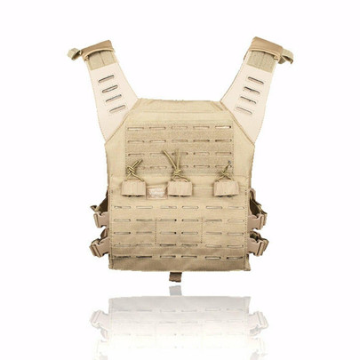 Valken Laser Cut MOLLE Plate Carrier w/ Integrated Mag Pouches, Tan