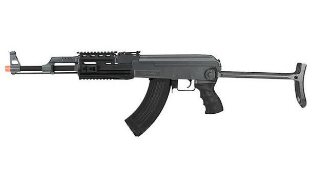 CYMA Sport AK47S RIS w/ Metal Gearbox and Metal Underfold Stock AEG Airsoft Rifle, Grey/Black