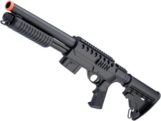 Double Eagle M47 Tactical Airsoft Spring Shotgun w/ Detachable Magazine, Black