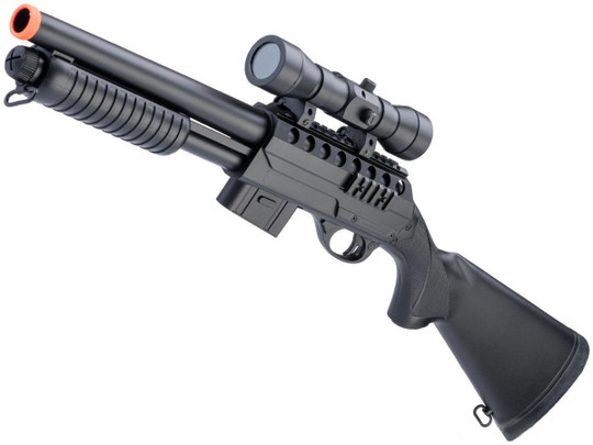 Double Eagle M47 Airsoft Spring Shotgun w/ Full Stock and Detachable Magazine, Black