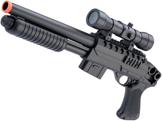 Double Eagle M47 CQB Airsoft Spring Shotgun w/ Detachable Magazine, Black