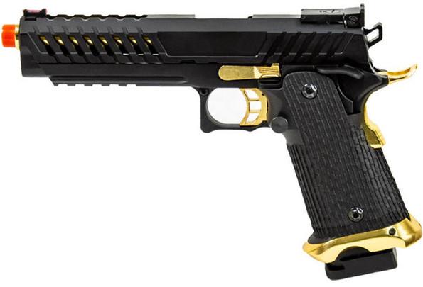 Lancer Tactical Knightshade Hi-Capa Gas Blowback Airsoft Pistol, Black/Gold