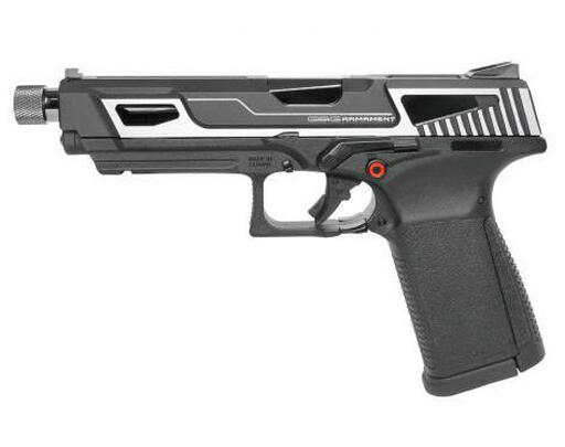GandG GTP 9 MS Gas Blowback Airsoft Pistol, Silver