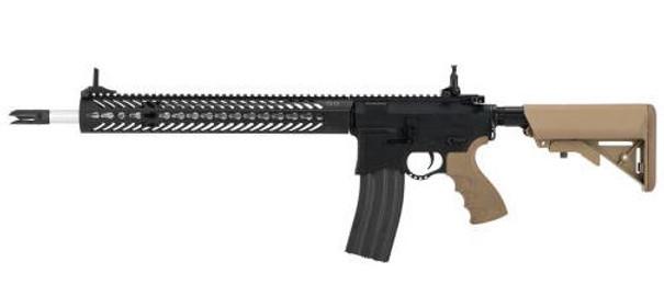 Seekins Precision Licensed AR-15 SP223 Advanced Airsoft M4 AEG Rifle w/ G2 Gearbox, Black/Tan