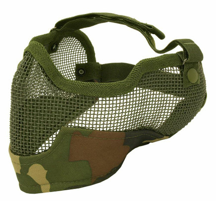3G Steel Mesh Half Face Mask, Deluxe Version w/ Ear Protection, Camo