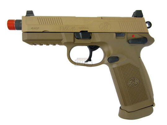 FN Herstal FNX-45 Tactical Metal Gas Blowback Airsoft Pistol, Tan