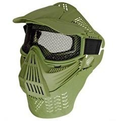 Full Face Mask with Mesh Goggles and Neck Protector, Green