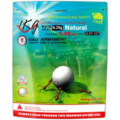 GandG Biodegradable Airsoft BBs, 0.28g, 1KG Bag, 4000 Rounds, White