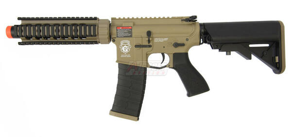GandG GR4 CQB-S MINI Blowback Tan and Black Two-Tone Airsoft Rifle