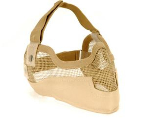 3G Steel Mesh Half Face Mask, Deluxe Version w/ Ear Protection, Tan