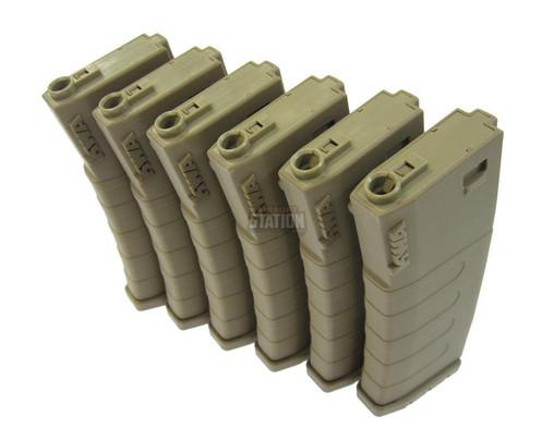 KWA K120 Polymer Midcap Magazine for M4 / M16 Series Airsoft AEG Rifles, 6ct, FDE