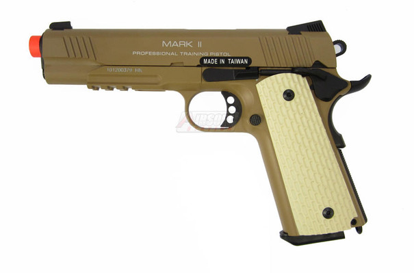 KWA M1911 MK II Metal Tactical PTP Gas Blowback Airsoft Pistol, Desert Tan