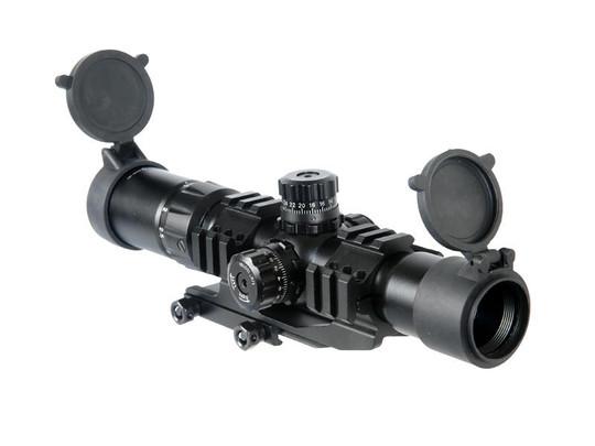 Lancer Tactical 1.5-4x Illuminated Mil-Dot Rifle Scope, Red/Green Dot, Railed
