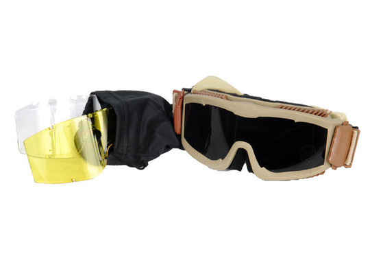 Lancer Tactical Airsoft Safety Goggles, Vented, Tan Frame, Multi Lens Kit