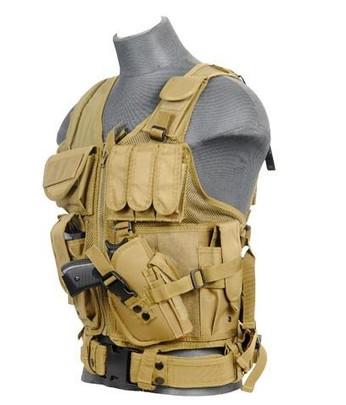 Lancer Tactical Cross Draw Tactical Vest, Tan