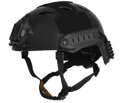 Lancer Tactical SpecOps Military Style Helmet, PJ Type with Rails and Velcro, Black
