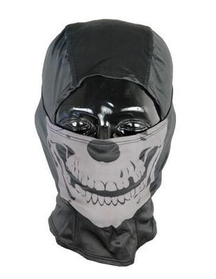 Lancer Tactical Ghost Balaclava, Black w/ Glow in the Dark Skull Design