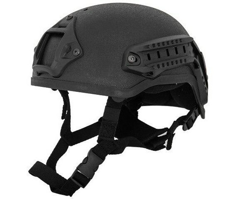 Lancer Tactical MICH 2001 NVG Helmet w/ Rails, Black