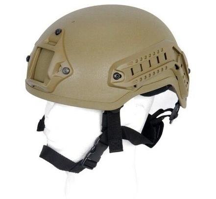 Lancer Tactical MICH 2001 NVG Helmet w/ Rails, Tan