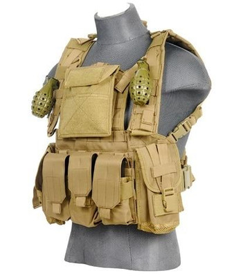 Lancer Tactical Modular Chest Rig with Pouches, Tan