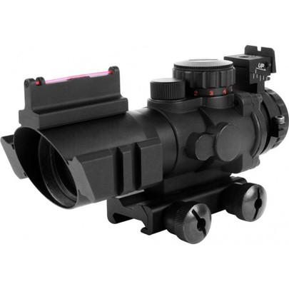 AIM Sports 4x32 Triple Illumination Tactical Scope w/ Tri-Rail and Fiber Optic Sights