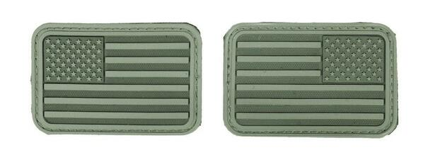 Lancer Tactical USA Flag Forward and Reverse Velcro Patches, OD Green, Set of 2