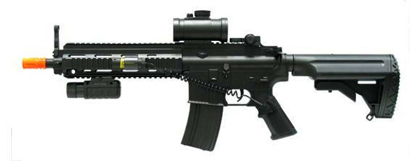 Full Auto Electric Airsoft Rifle by Double Eagle w/ Laser, Flashlight, and Red Dot Sight