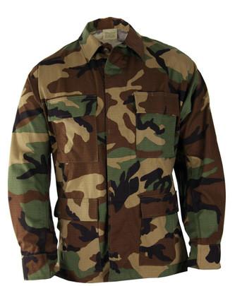 Propper BDU 4-Pocket Coat, 100percent Cotton Ripstop, Woodland