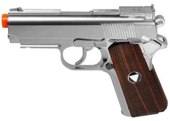 WG/TSD Metal M1911 CO2 Pistol, Chrome w/ Wood Grip