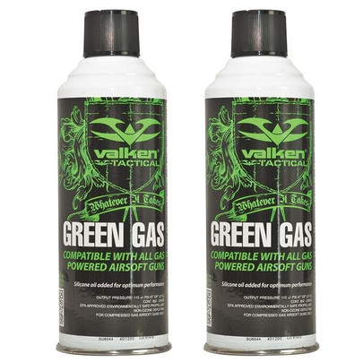 Two Pack of Valken Airsoft Green Gas, 8oz Can - GROUND SHIPPING ONLY