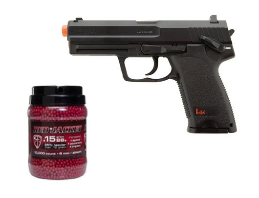HandK USP CO2 Airsoft Pistol and 10K Red Jacket BBs Combo