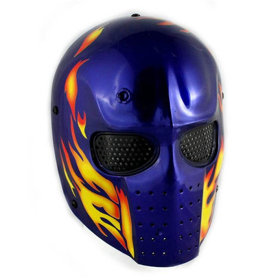 Army of Two Blue /w Flames Airsoft Mask, Stamped Steel Mesh
