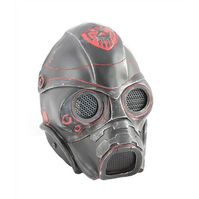 """Army of Two FMA """"Spectre 1.0"""" Airsoft Face Mask, Stamped Steel Mesh, Black/Red"""