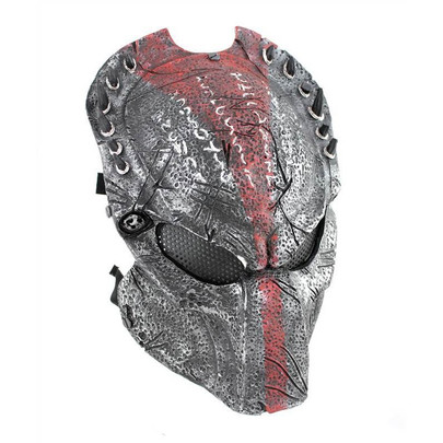 Army of Two Wolf 2.5 Airsoft Mask, Stamped Steel Mesh, Red/Black
