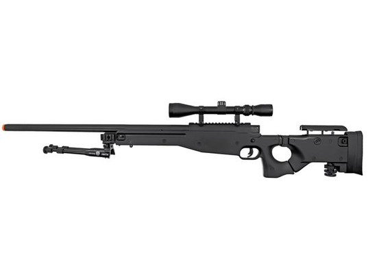 Well MB08 Bolt Action Airsoft Sniper Rifle w/ Scope and Bipod, Black
