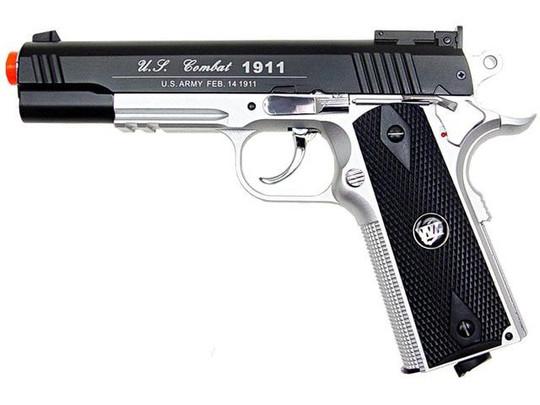 WG Full Metal US Combat 1911 CO2 Airsoft Pistol, Black/Silver