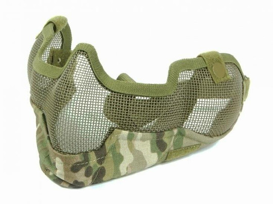 3G Steel Mesh Half Face Mask, Deluxe Version w/ Ear Protection, MultiCam