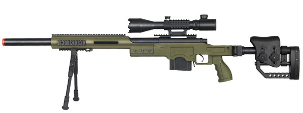 Well MB4410 Bolt Action Sniper Rifle w/ Illuminated Scope and Bipod, OD Green