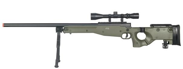 Well L96 AWP Bolt Action Sniper Rifle w/ Scope and Bipod, OD Green