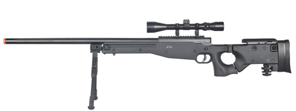 Well L96 AWP Bolt Action Sniper Rifle w/ Scope and Bipod, Black
