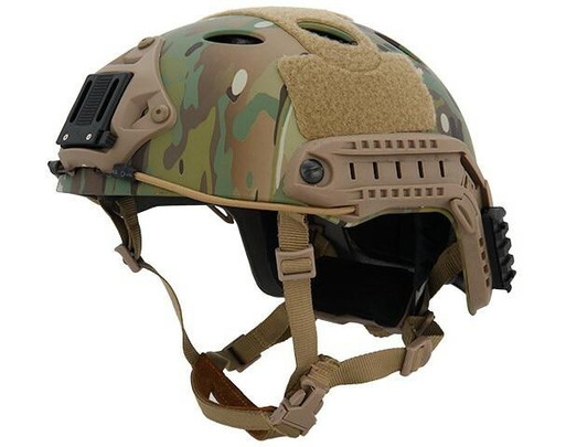 Lancer Tactical SpecOps Military Style Helmet, PJ Type with Rails and Velcro, Modern Camo