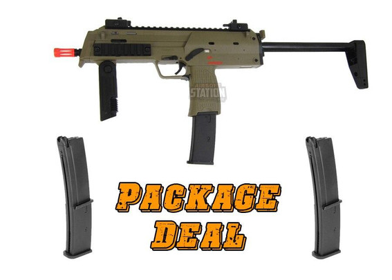 KWA HandK MP7 A1 Gas Blowback Combo Package w/ 2 Extra Mags, Tan Version