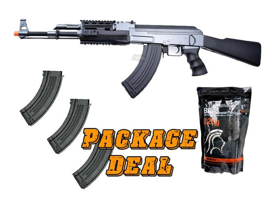 CYMA CM028A Tactical AK47 AEG Combo Kit w/ 3 Extra Mags and 4,000 BBs