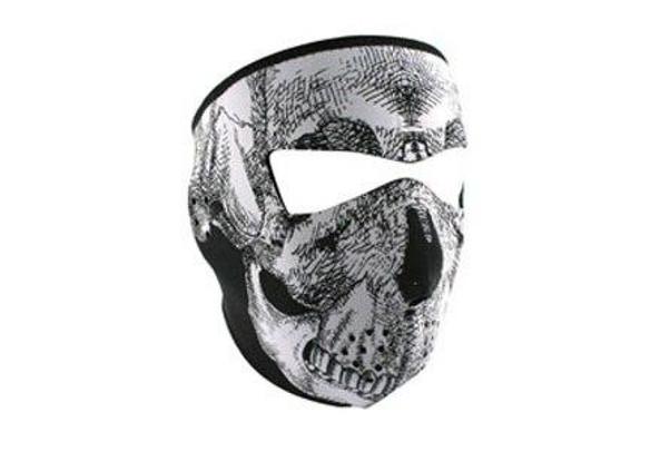 Zan Headgear Tactical Full Mask Neoprene Tactical 4.0mm Thick Black/White Skull Airsoft