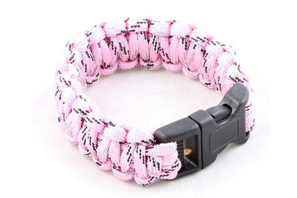 Paracord Large Survival Bracelet Pink Camo Military Airsoft Paintball Cobra Weave