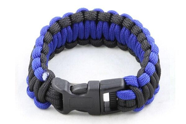 Paracord Large Survival Bracelet Blue and Black Military Airsoft Paintball Cobra Weave